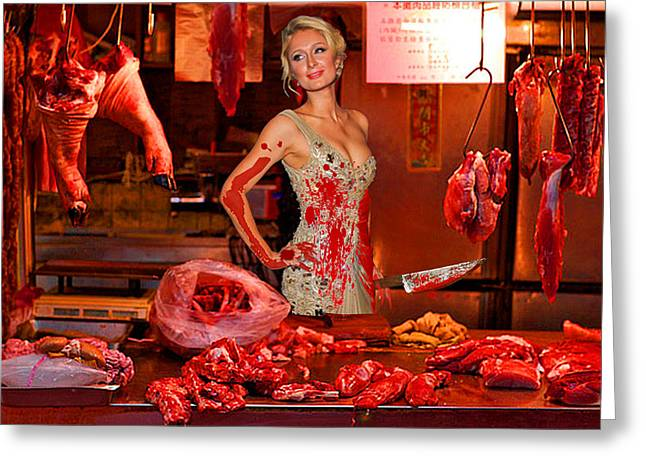 Photorealistic Greeting Cards - Paris Hilton The Butcher Greeting Card by Tony Rubino