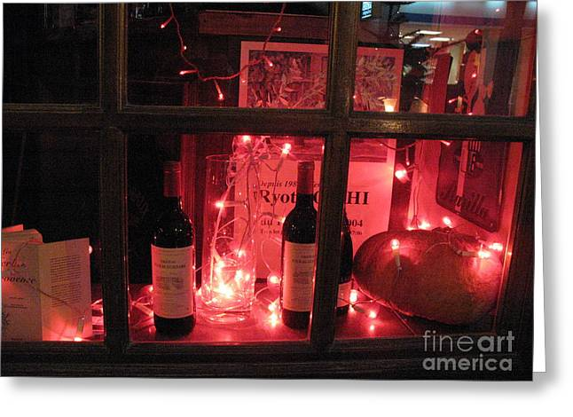 Red Wine Prints Greeting Cards - Paris Holiday Christmas Wine Window Display - Paris Red Holiday Wine Bottles Window Display  Greeting Card by Kathy Fornal