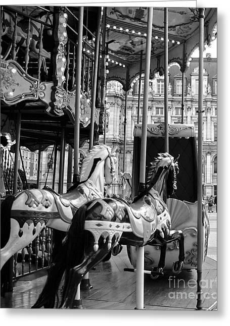 Merry-go-round Greeting Cards - Paris Hotel DeVille Carousel Horses - Paris Black White Carousel Horses Merry Go Round Carousel  Greeting Card by Kathy Fornal