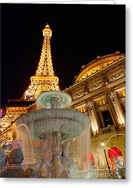Water Flowing Greeting Cards - Paris Hotel and Casino in Las Vegas Greeting Card by Jamie Pham