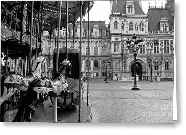 Paris Hotel Deville Black And White Photography - Paris Carousel Merry Go Round At Hotel Deville  Greeting Card by Kathy Fornal