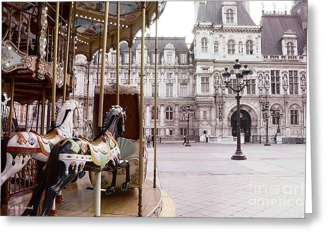 Decor Photography Greeting Cards - Paris Hotel DeVille - Paris Carousel Horses at Hotel DeVille - Paris Pink Architecture Art Nouveau Greeting Card by Kathy Fornal