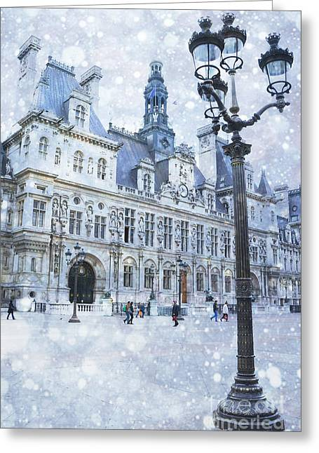 Paris Buildings Greeting Cards - Paris Hotel DeVille Winter Blue Snow Scene - Paris Winter Snow Landscape Greeting Card by Kathy Fornal