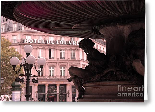 Fountain Photograph Greeting Cards - Paris Hotel Du Louvre - Cherub Fountain Place Andre Malraux - Paris Architecture Greeting Card by Kathy Fornal