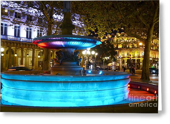 Fountain Photograph Greeting Cards - Paris Hotel Du Louvre - Lights and Fountain Place Andre Malraux - Paris Night Photography Greeting Card by Kathy Fornal