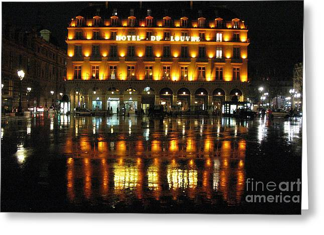 Rainy Night Greeting Cards - Paris Hotel Du Louvre Rainy Night Reflection - Paris Night Lights Street Photography Greeting Card by Kathy Fornal