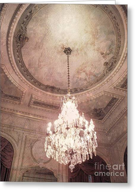 Chandelier Greeting Cards - Paris Hotel Regina Dreamy Crystal Chandelier Hotel Entrance Lobby Chandelier Art Deco Ceiling Fresco Greeting Card by Kathy Fornal