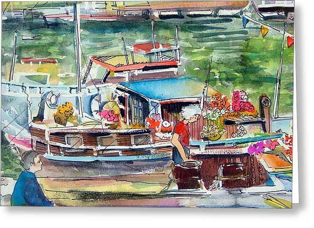 Docked Boats Greeting Cards - Paris House Boat Greeting Card by Mindy Newman