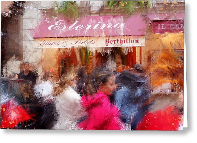 Sorbet Digital Art Greeting Cards - Paris Ice Cream Shoppe Greeting Card by James Metcalf