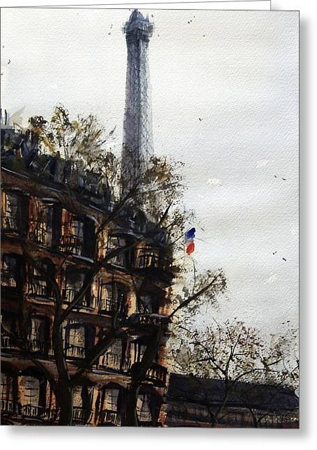 Spectacular Paintings Greeting Cards - Paris II Greeting Card by James Nyika