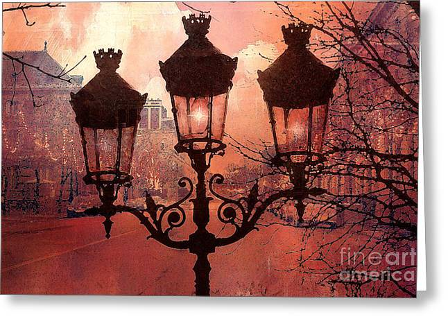 Fantasy Art Greeting Cards - Paris Impressionistic Street Lamps Surreal Black Orange Street Lanterns Architecture Greeting Card by Kathy Fornal