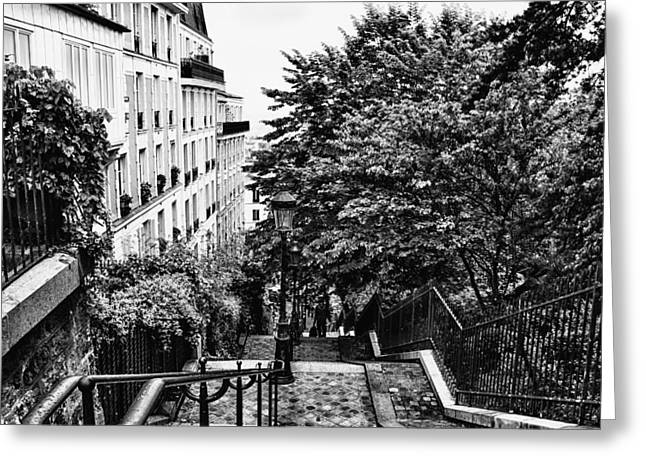 Paris In Lights Greeting Cards - Paris in Black and White Greeting Card by Nomad Art And  Design
