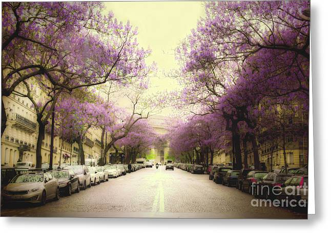 Paris Trees Nature Scenes Greeting Cards - Paris in Bloom Greeting Card by Tristyn Lau