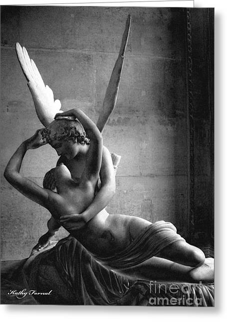 Eros And Psyche Greeting Cards - Paris In Love - Eros and Psyche Romantic Lovers - Paris Eros Psyche Louvre Sculpture Black White Art Greeting Card by Kathy Fornal