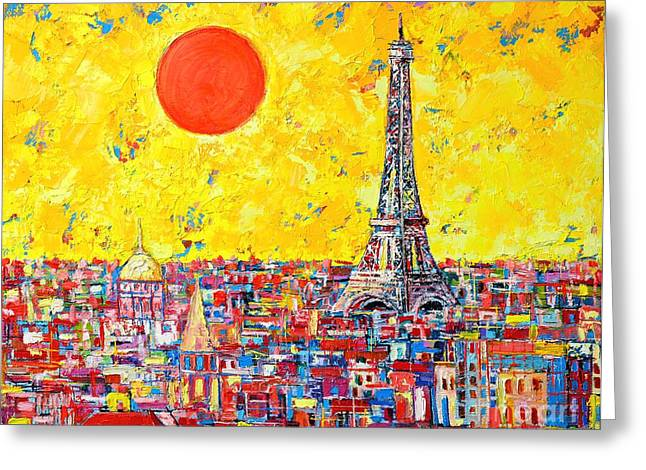 Abstract Expressionist Greeting Cards - Paris In Sunlight Greeting Card by Ana Maria Edulescu