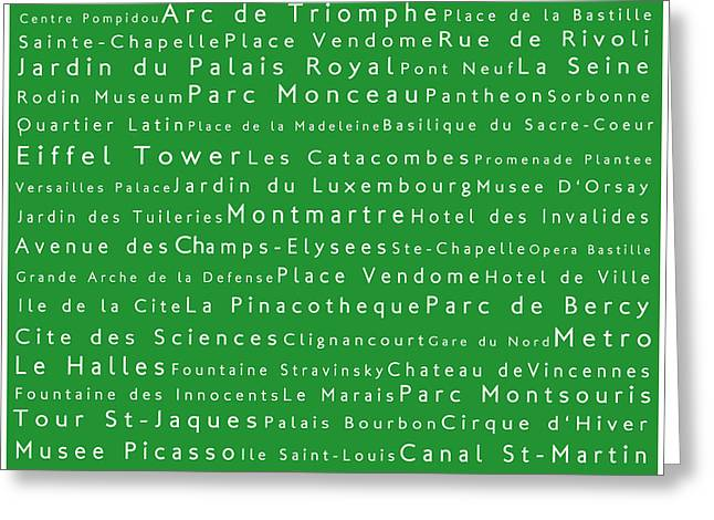 Champs Greeting Cards - Paris in Words Green Greeting Card by Sabine Jacobs
