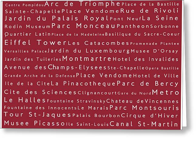 Champs Greeting Cards - Paris in Words Red Greeting Card by Sabine Jacobs