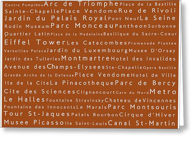 Champs Greeting Cards - Paris in Words Toffee Greeting Card by Sabine Jacobs