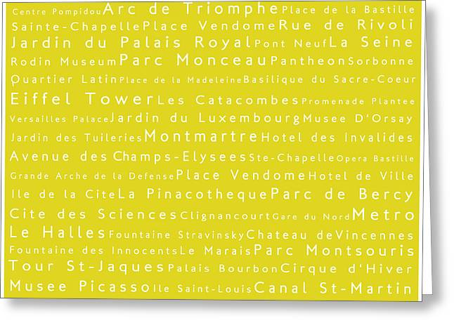 Champs Greeting Cards - Paris in Words Yellow Greeting Card by Sabine Jacobs