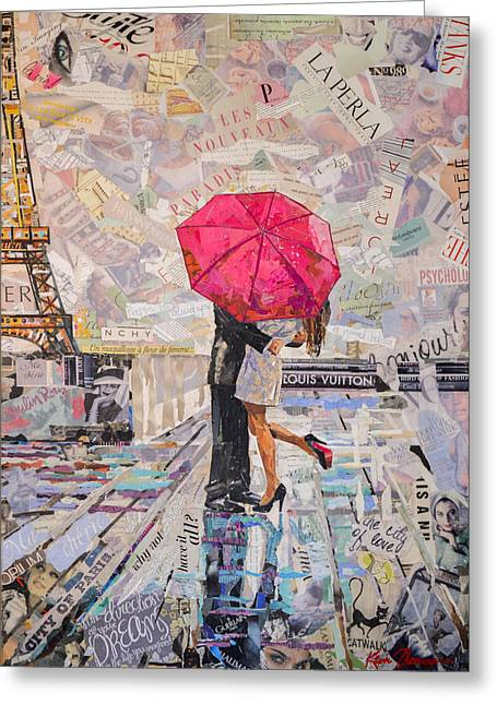 Wine Magazine Art Greeting Cards - Paris is always a good idea B Greeting Card by Kevin Thomas
