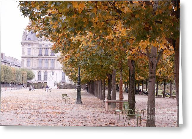 Paris Louvre Jardin Des Tuileries Autumn Fall Trees - Dreamy Tuileries Autumn Trees Nature Gardens Greeting Card by Kathy Fornal