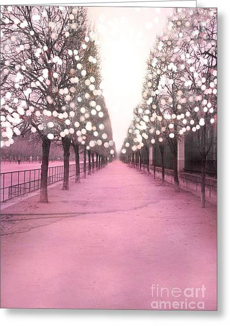 Nature Photo Framed Print Greeting Cards - Paris Tuileries Trees Pink Twinkling Fairy Lights Trees- Jardin des Tuileries Park and Garden Greeting Card by Kathy Fornal