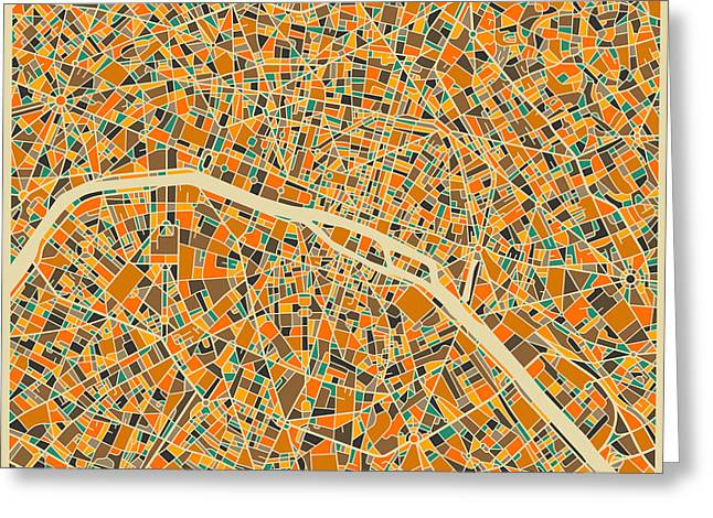 France Map Greeting Cards - Paris Greeting Card by Jazzberry Blue