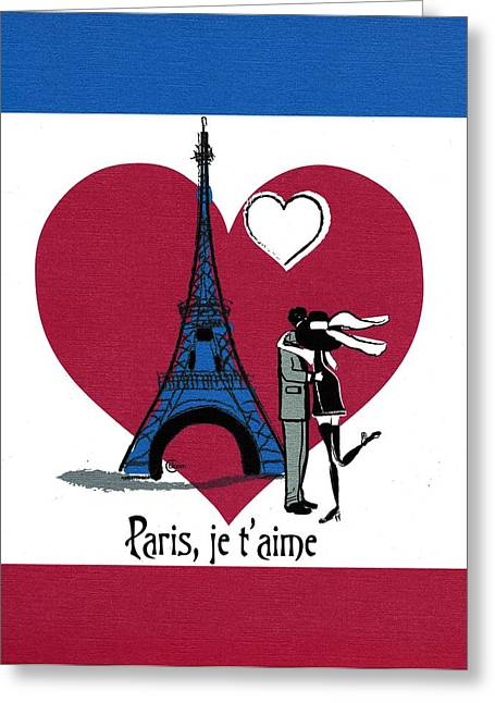 Paris In Lights Greeting Cards - Paris Je T Aime ...trois couleurs Greeting Card by Cecely Bloom