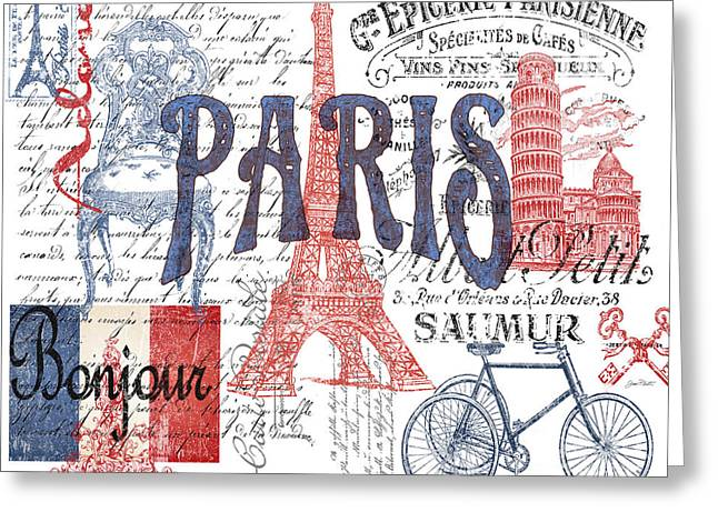 Recently Sold -  - White Digital Art Greeting Cards - Paris Greeting Card by Jean Plout
