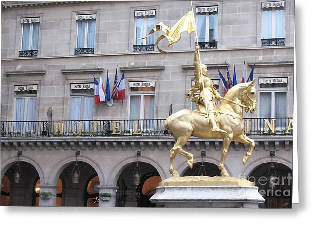 Paris Joan Of Arc Statue In Front Of Hotel Regina  - Joan Of Arc Monument Statue  Greeting Card by Kathy Fornal