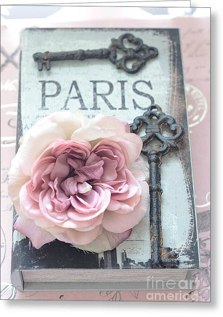Vintage Key Greeting Cards - Paris Key Art - Paris Romantic Pink Roses and Vintage Paris Keys - Paris Shabby Chic Key Art Greeting Card by Kathy Fornal
