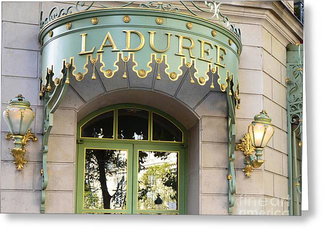 Paris Laduree Door Sign - Romantic Paris Laduree Green And Gold Door Sign And Lamps Greeting Card by Kathy Fornal