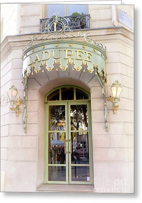 Dreamy Food Photography Greeting Cards - Paris Laduree Dreamy Pink Door Architecture - Paris Laduree Pink Pastel Architecture Door Art Deco Greeting Card by Kathy Fornal