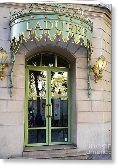 Paris Laduree Fine Art Door Print - Paris Laduree Green And Gold Door Sign With Lanterns Greeting Card by Kathy Fornal