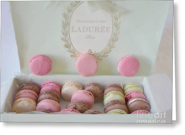 Food Photography Greeting Cards - Paris Laduree Pastel Macarons and Laduree Box - Paris Dreamy Pink Macarons Fine Art Photography Greeting Card by Kathy Fornal