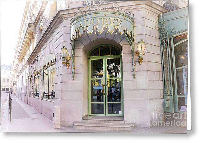 Dreamy Food Photography Greeting Cards - Paris Laduree Patisserie Bakery Tea Shop - Paris Pink Pastel Laduree Architecture  Greeting Card by Kathy Fornal