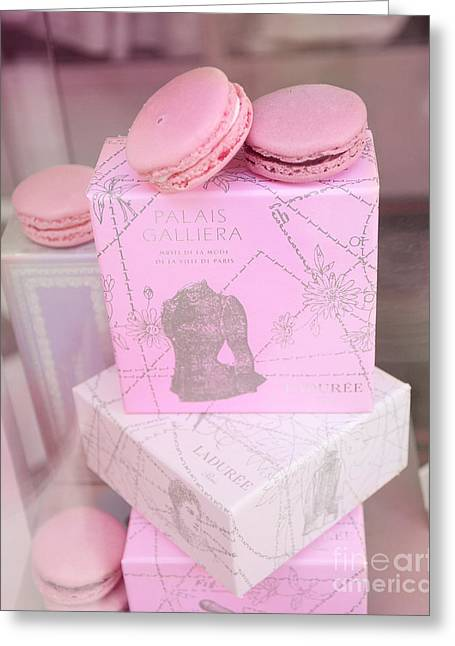 Pink Food Photography Greeting Cards - Paris Laduree Pink Box - Paris Laduree Pink Macarons - Paris Laduree Pink Pastel Window Display  Greeting Card by Kathy Fornal