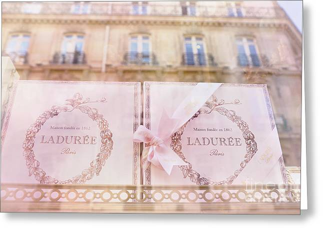 Pink Food Photography Greeting Cards - Paris Laduree Pink Boxes Wndow Display - Paris Laduree Macaron Shop Dreamy Pink Boxes Art Greeting Card by Kathy Fornal