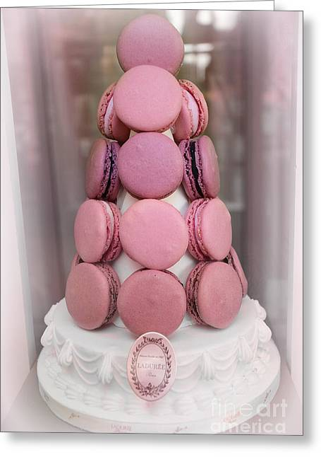 Pink Food Photography Greeting Cards - Paris Laduree Pink Macarons - Paris Pink Laduree Window Display - Paris Pink Macarons Window Display Greeting Card by Kathy Fornal