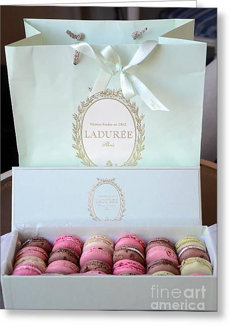 Food Photography Greeting Cards - Paris Laduree Macarons - Dreamy Laduree Box of French Macarons With Laduree Bag  Greeting Card by Kathy Fornal