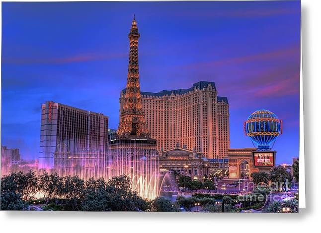 Eddie Yerkish Greeting Cards - Paris Las Vegas at Sunset Greeting Card by Eddie Yerkish