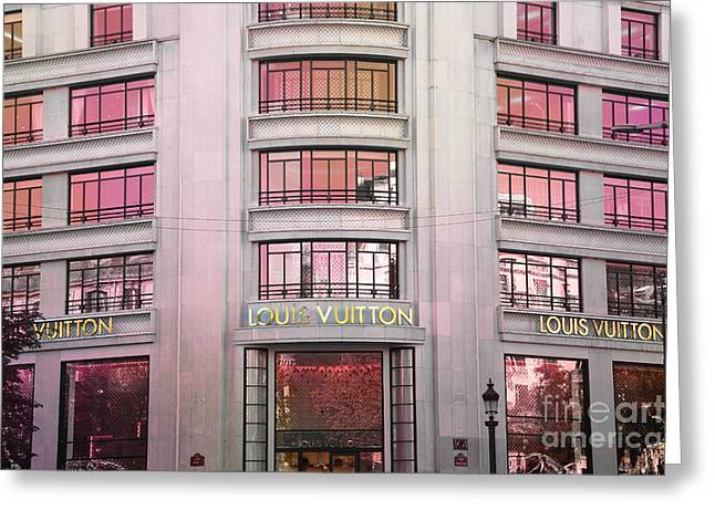 Pink Photos Greeting Cards - Paris Louis Vuitton Boutique Fashion Shop on the Champs Elysees Greeting Card by Kathy Fornal