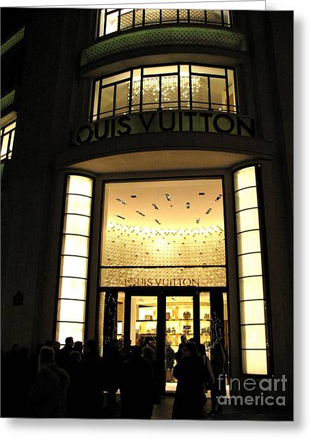 Boutique Art Greeting Cards - Paris Louis Vuitton Boutique Store Front - Paris Night Photo Louis Vuitton - Champs Elysees  Greeting Card by Kathy Fornal