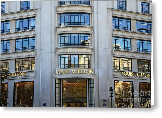 Boutique Art Greeting Cards - Paris Louis Vuitton Fashion Boutique - Louis Vuitton Designer Storefront in Paris Greeting Card by Kathy Fornal