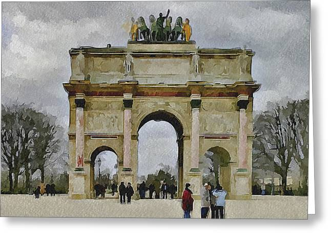 Old Town Digital Art Greeting Cards - Paris Louvre 4 Greeting Card by Yury Malkov