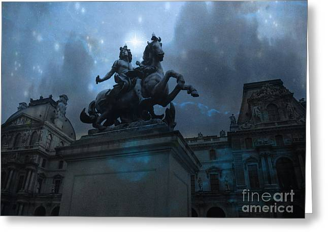 In Blue Greeting Cards - Paris Louvre Museum Blue Starry Night - King Louis XIV Monument at Louvre Museum Greeting Card by Kathy Fornal