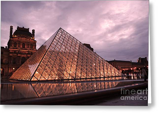Paris In Lights Greeting Cards - Paris Louvre Museum Dusk Twilight Night Lights - Louvre Pyramid Triangle Night Lights Architecture  Greeting Card by Kathy Fornal