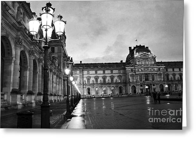 Pyramids Greeting Cards - Paris Louvre Museum Lanterns Lamps - Paris Black and White Louvre Museum Architecture Greeting Card by Kathy Fornal