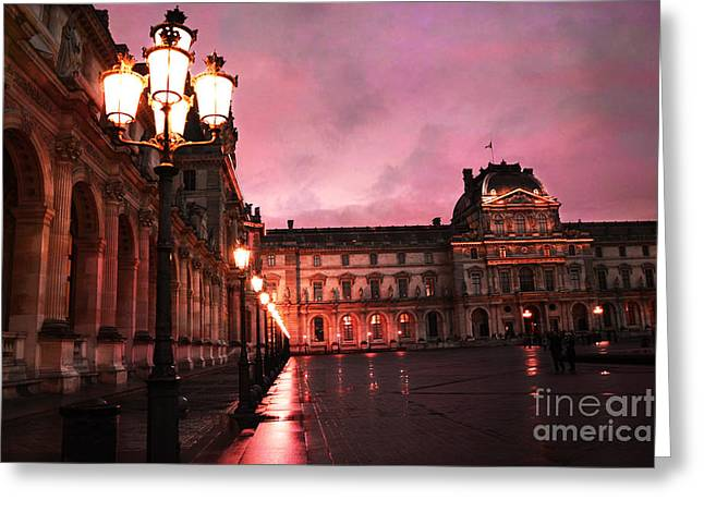 Paris Louvre Museum Night Architecture Street Lamps - Paris Louvre Museum Lanterns Night Lights Greeting Card by Kathy Fornal