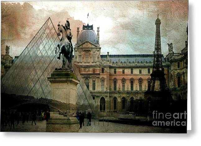 Paint Photograph Greeting Cards - Paris Louvre Museum Pyramid Architecture - Eiffel Tower Photo Montage of Paris Landmarks Greeting Card by Kathy Fornal